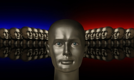 Silver mannequin head flanked by two groups of heads lined up opposite one another on a reflective black surface with red and blue background