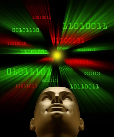 Artifical intelligence as symbolized by green and red binary code flying through a vortex toward an android head Stock fotó