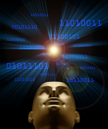 symbolized: Artifical intelligence as symbolized by blue binary code flying through a vortex toward an android head