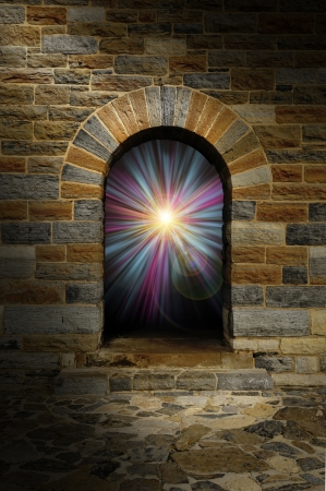 Magical blue and purple vortex in a stone arch doorway