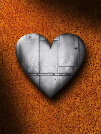 corrode: Sheet metal heart against a rusty background texture Stock Photo