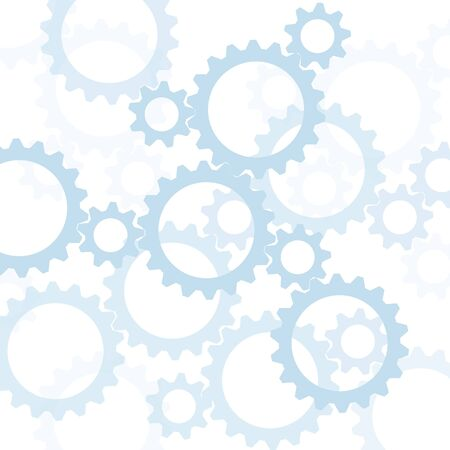 Blue interlocking gears silhouetted against white