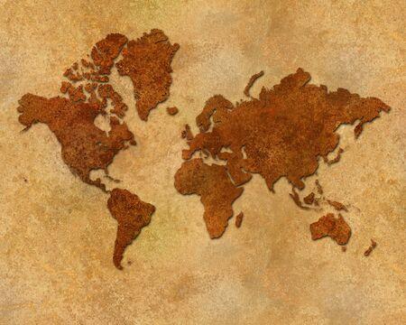 Distressed rusty metallic global map