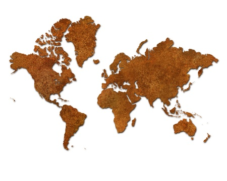 Global map with rusty metal continents on a white background