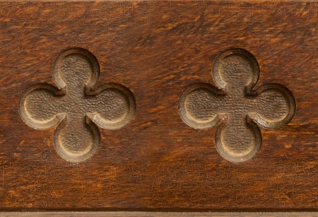 cloverleaf: Indented wooden cloverleaf shaped pattern seamlessly tileable Stock Photo