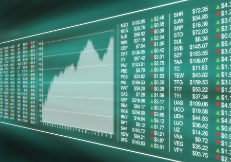 Virtual display monitoring financial stock market prices Stock Photo