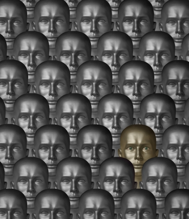 robot head: Rows robot androids of various metals or alloys, one with human eyes Stock Photo