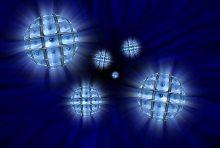 Spheres with video screens showing eyes moving through a blue vortex