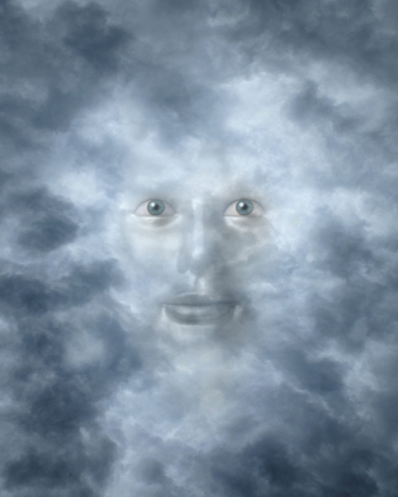 benign: Spiritual faces peering through clouds possibly a god or deity