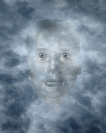 supernatural power: Spiritual faces peering through clouds possibly a god or deity