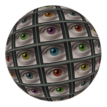 probing: Sphere of video screens showing multi-colored eyes. On white background.