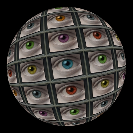 cybernetic: Sphere of video screens showing multi-colored eyes. On black background.
