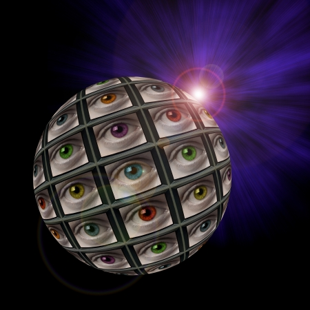 probing: Sphere of video screens showing multi-colored eyes with an exploding light in background with lens flare