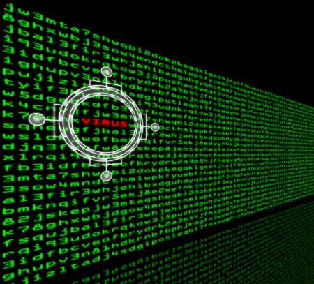 detecting: The word VIRUS is highlighted in a wall of green machine code Stock Photo