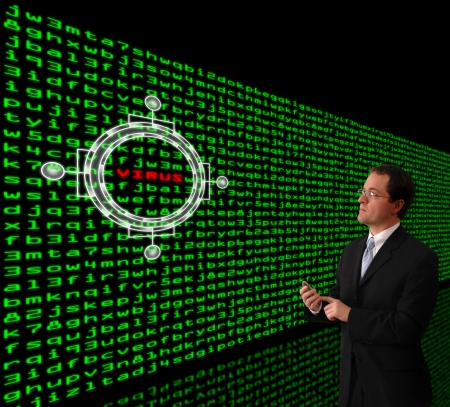 detecting: Man in a suit detecting computer virus in a wall of machine code Stock Photo
