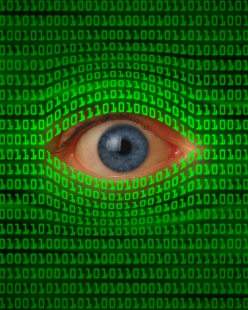 intercept: Eye peeking through green binary code