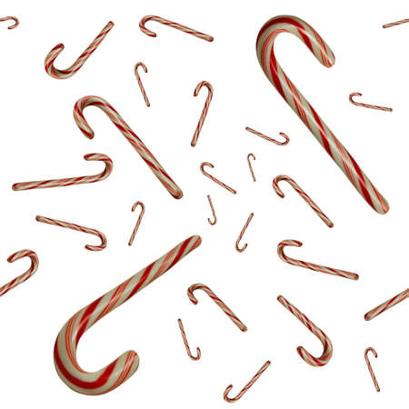tileable: Floating candy canes against whitebackground seamlessly tileable Stock Photo
