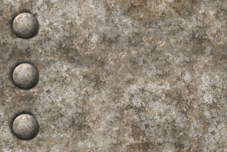 Distressed gray metal surface texture with a row of rivets. Image is seamlessly tileable.