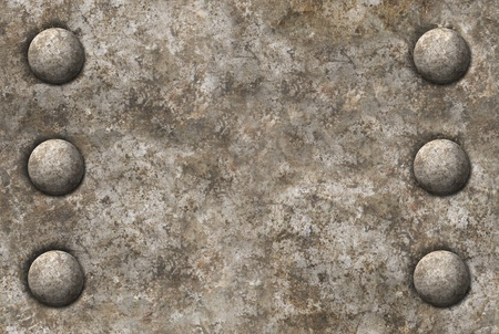 tileable: Distressed gray metal surface texture with two rows of rivets seamless tileable