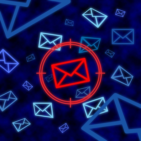 targeted: Email icon targeted by electronic surveillance in a blue cyberspace Stock Photo