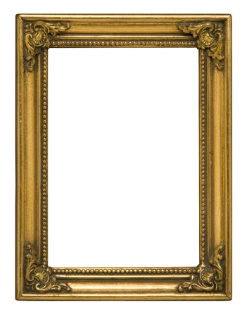 Antique gold vertical picture frame against white background