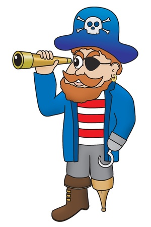 spyglass: Cartoon illustration of a comical pirate looking through a spyglass Stock Photo