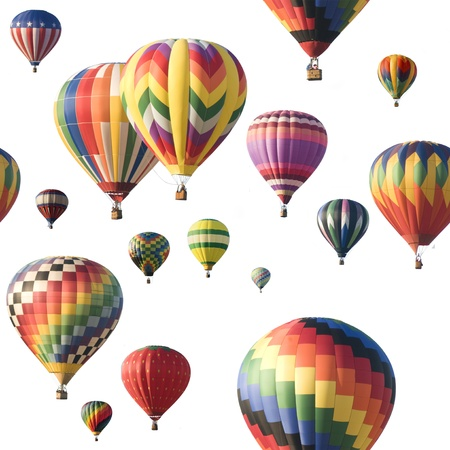 hot air balloons: A group of colorful hot-air balloons floating against a white background. Image is seamlessly tileable. Stock Photo