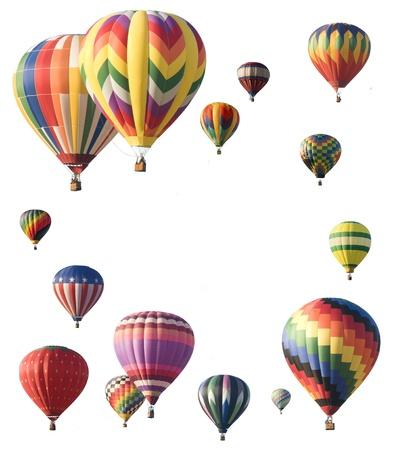 Heteluchtballonnen die rond de rand van het frame waardoor ruimte voor tekst in het centrum van witte achtergrond
