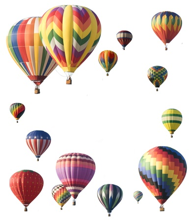 Hot-air balloons arranged around edge of frame allowing space for text in the center of white background photo