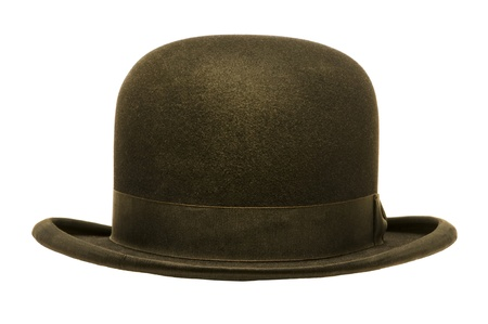 headgear: A black derby or bowler hat isolated against a white background Stock Photo