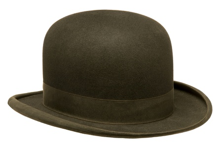 headgear: Black bowler or derby hat isolated against white background