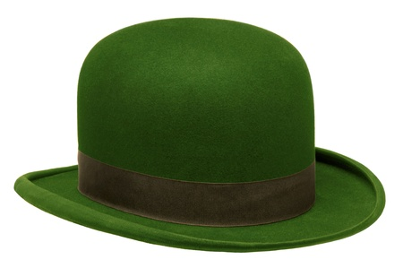 Green bowler or derby hat isolated against white background Stock Photo