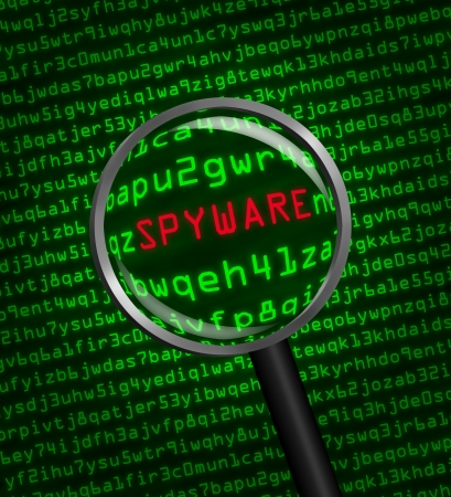 locating: Magnifying glass locating spyware in computer machine code Stock Photo