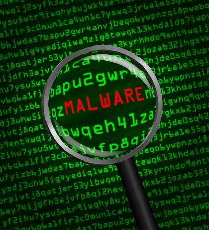 malware: Magnifying glass enlarging malware in computer machine code Stock Photo