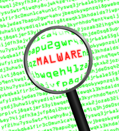 trojan horse: Magnifying glass locating malware in computer machine code Stock Photo