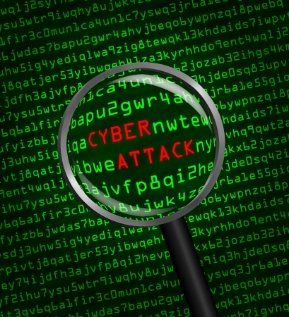 The words Cyber Attack revealed in computer machine code through a magnifying glass