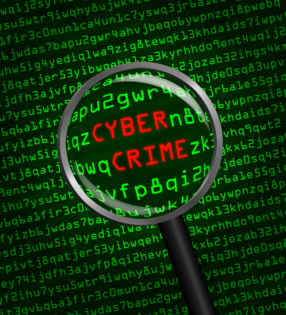 computer crime: The words Cyber Crime revealed in computer machine code through a magnifying glass Stock Photo