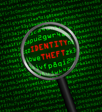 trojan horse: The words Identity Theft revealed in computer machine code through a magnifying glass