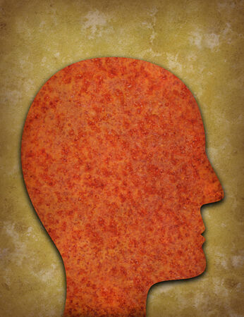 deteriorate: Rusty head profile silhouette against yellowed distressed background