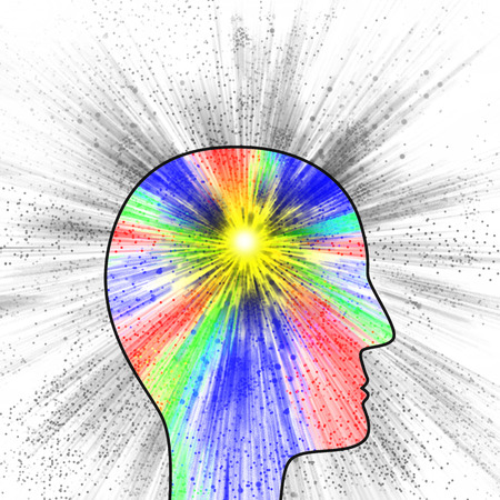 Colorful explosion of thought or pain as suggested by the head profile