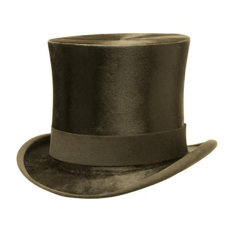 chapeaux: Chapeau noir haut isol� sur blanc Banque d'images