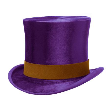 Paars Top Hat met bruine band, geïsoleerd tegen witte