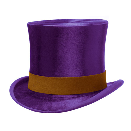 top hat: Purple Top Hat with brown band, isolated against white