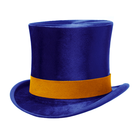 top hat: Blue top hat with gold band, isolated against white