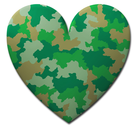 Green camouflage military heart photo