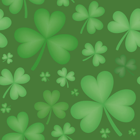 varying: Seamless pattern of green shamrock shapes of varying sizes