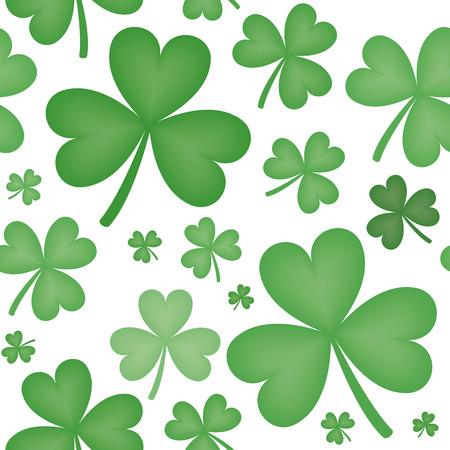 varying: Seamless pattern of green shamrock shapes of varying sizes with white background
