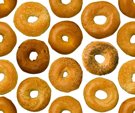 tileable: A variety of different types of bagels, seamlessly tileable Stock Photo
