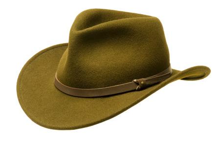 brim: Green Adirondack hat with wide felt brim, isolated against white