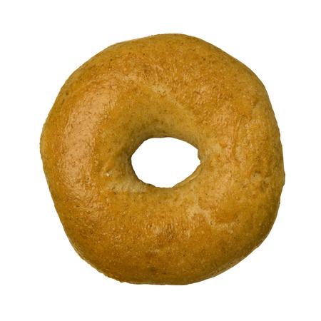 bagel: Whole wheat bagel isolated against white background Stock Photo
